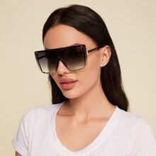 Flat Top Shield Gradient Lens Sunglasses
