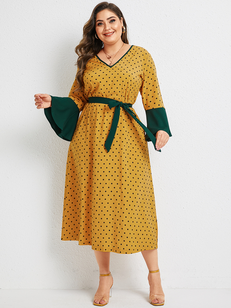 Yoins Plus Size Yellow Belt Design Polka Dot V-neck Long Sleeves Dress