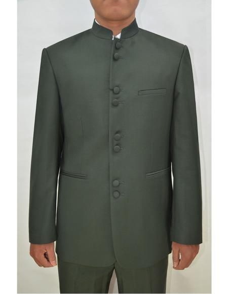 Marriage Groom Wedding Indian Nehru Suit Jacket Mens Blazer Olive