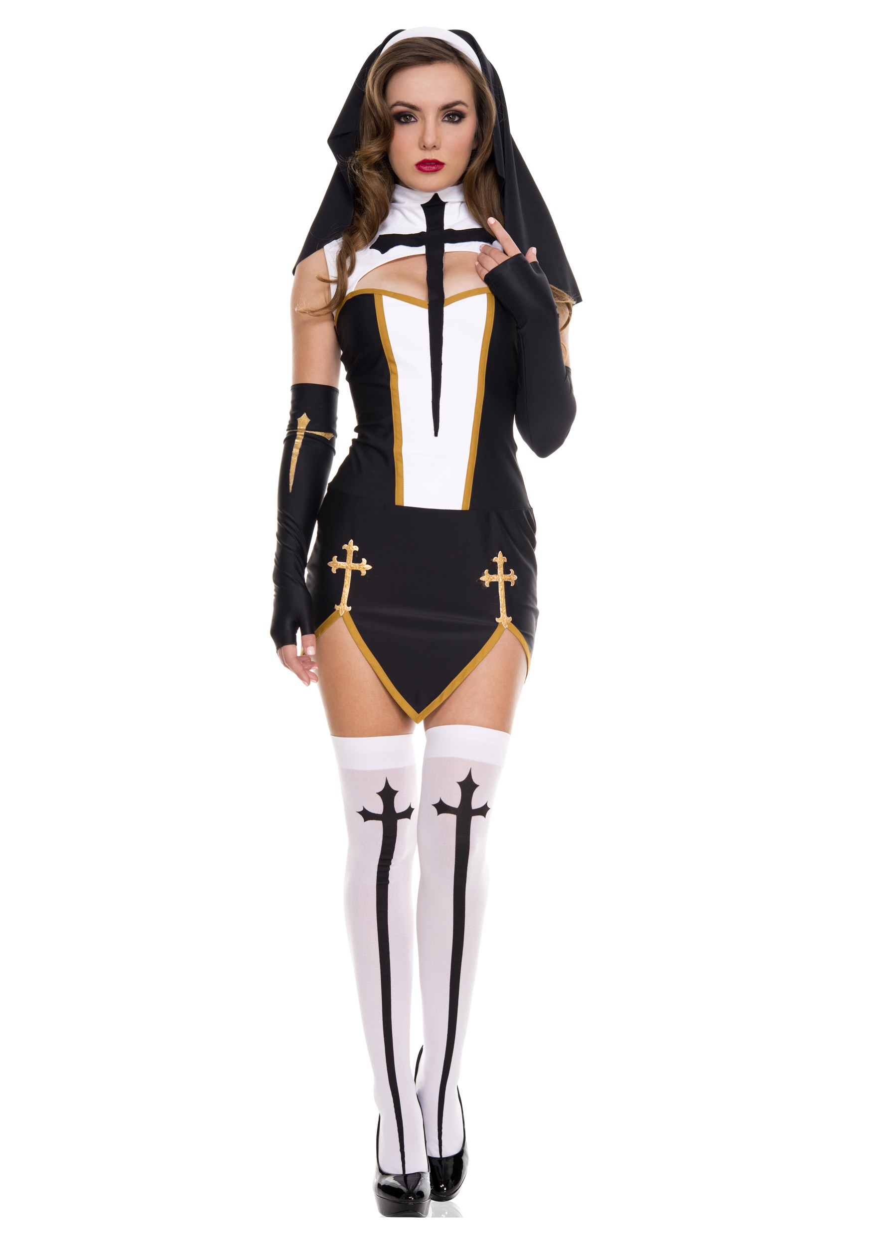 Bad Habit Nun Costume W/ Dress & Thigh High Stockings