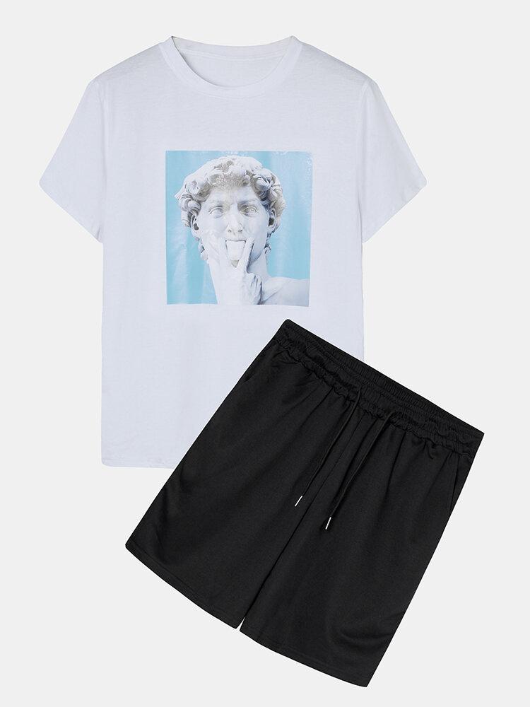 Mens Portrait Graphic Sets Short Sleeve T-Shirt Casual Drawstring Shorts