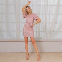 DKRX Two Layer Sleeve Belt Sequin Dress With Lining
