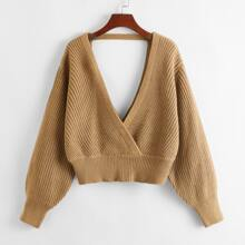 Surplice Neck Backless Solid Sweater