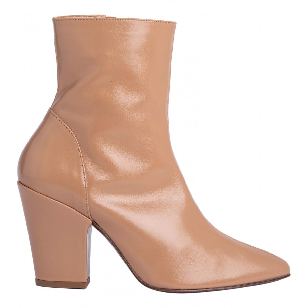 By Far - Boots   pour femme en cuir - beige