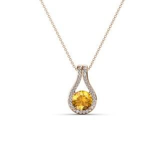 TriJewels Gemstone Diamond Accent Teardrop Pendent Necklace 14K Gold (Citrine - Rose)