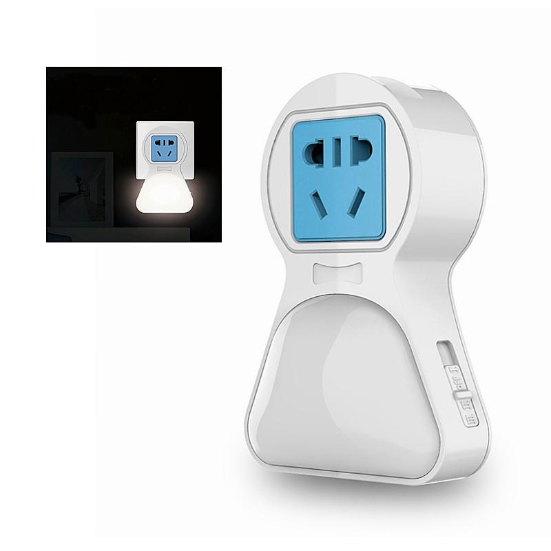 Multifunction USB Wall Socket LED Socket Night Light Plug-in Wall Warm White Light Control On/OFF Plug Socket Power Stri