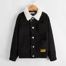 Boys Contrast Faux Shearling Collar Pocket Front Cord Jacket