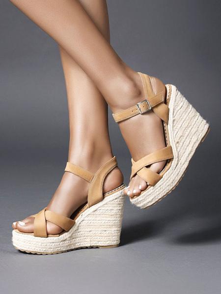 Milanoo Sandalias de cuña para mujer Sandalias de cuña elegantes con punta redonda y micro ante