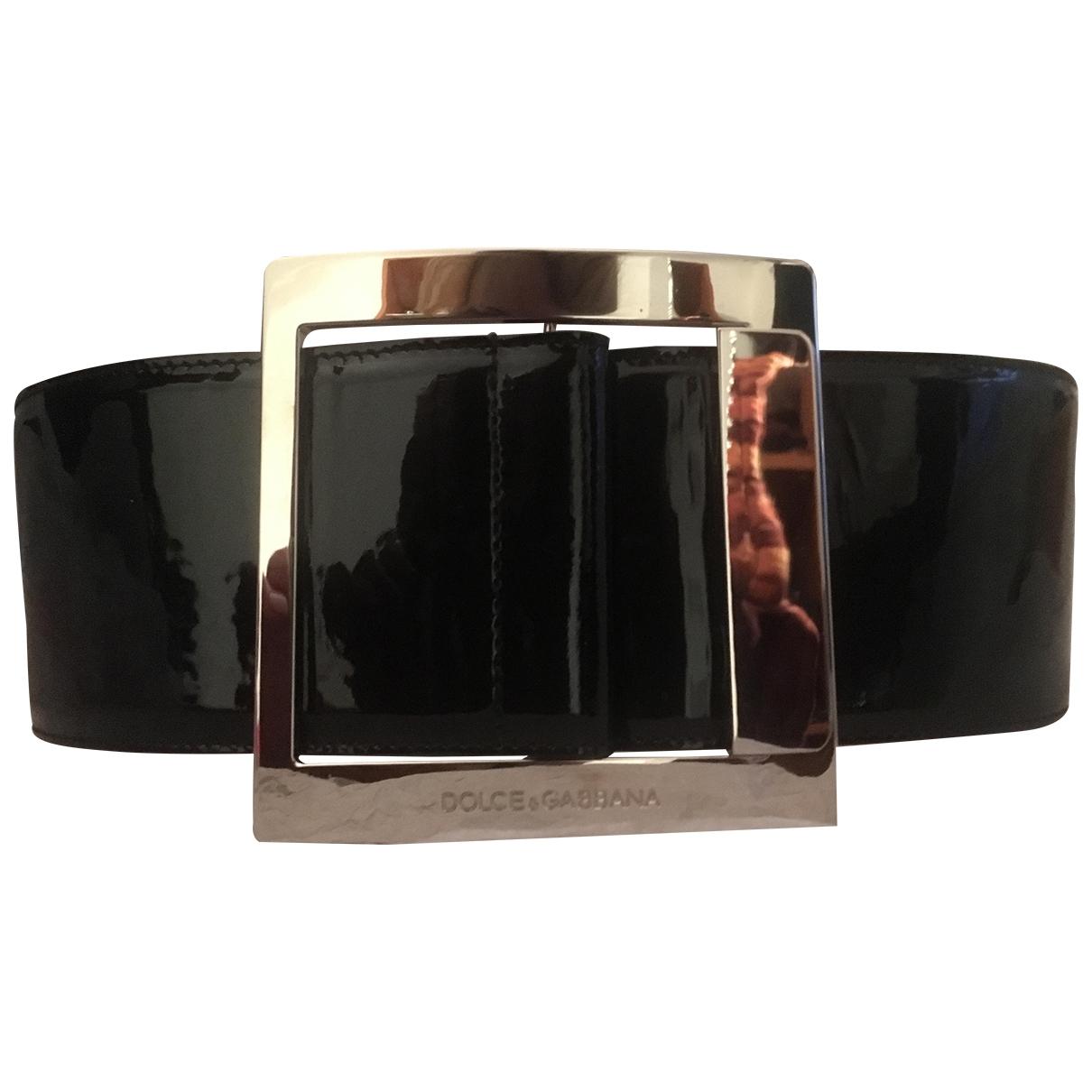Dolce & Gabbana \N Guertel in  Schwarz Lackleder