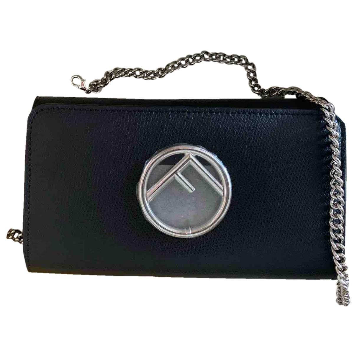 Fendi Kan I logo Black Leather Clutch bag for Women \N