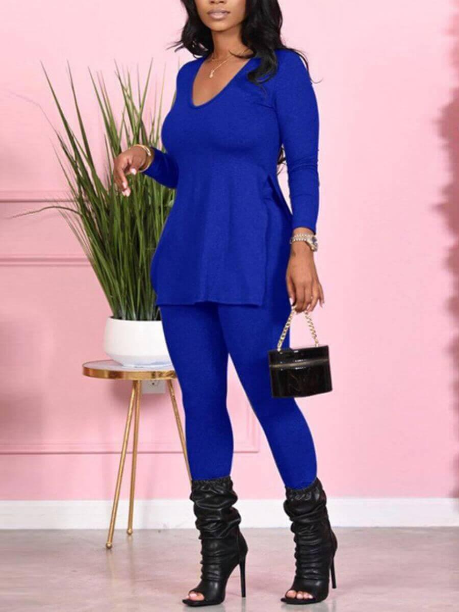 LW Lovely Casual V Neck Side Slit Blue Two Piece Pants Set