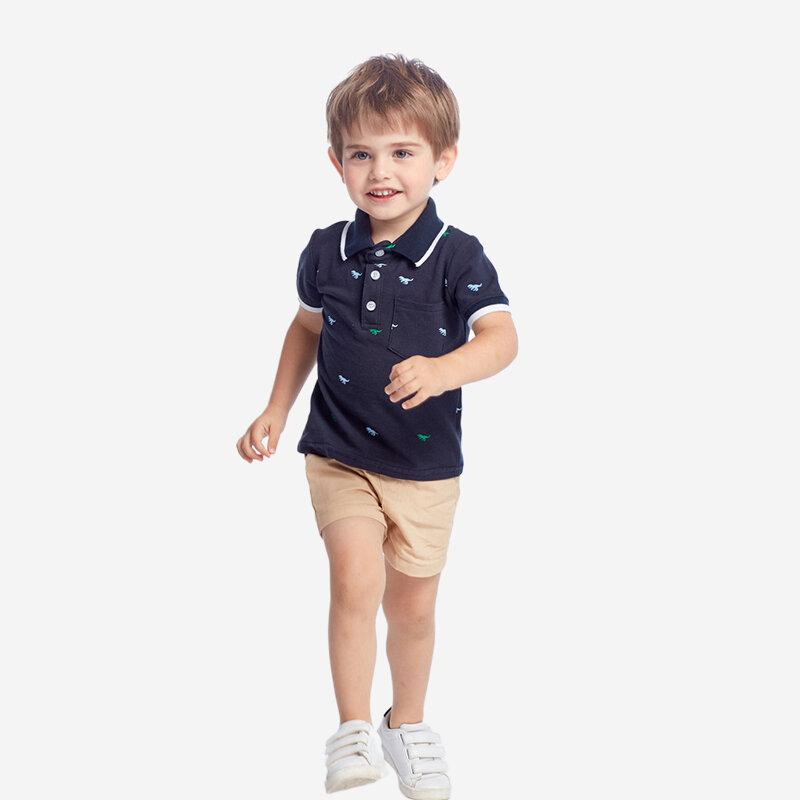 Boy's Dinosaur Print Short Sleeves T-shirts+Pants Casual Clothing Set For 1-8Y