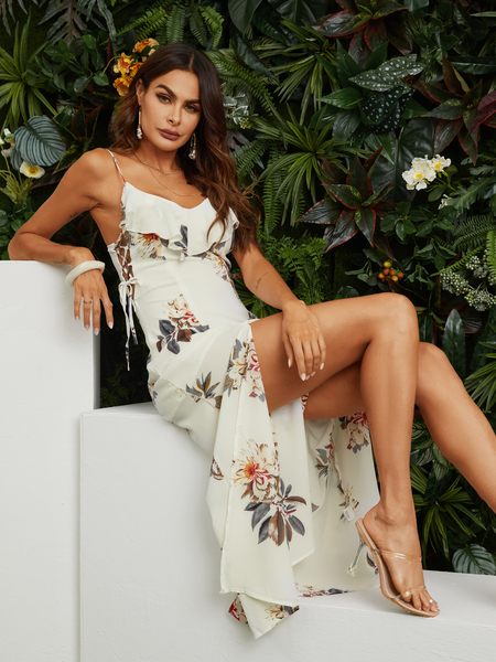 Yoins Tied Up Side Random Floral Print Maxi Dress in White