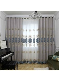 European Style Living Room Gray Hand-made Embroidered Blackout Grommet Curtain