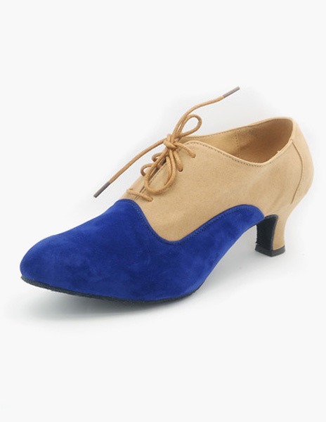 Milanoo Fashion Lace Up Almond Toe Suede Leather Ballroom Shoes