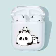 1pc Panda Print Clear AirPods Case