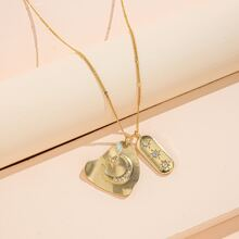 Halskette mit Strass und geometrischem Anhaenger