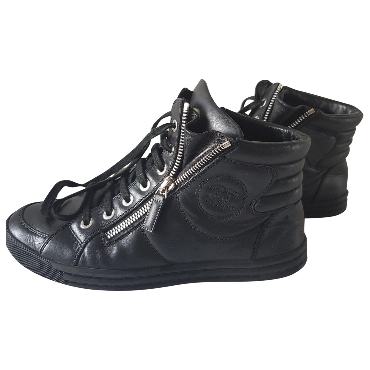 Chanel \N Black Leather Trainers for Women 37 EU