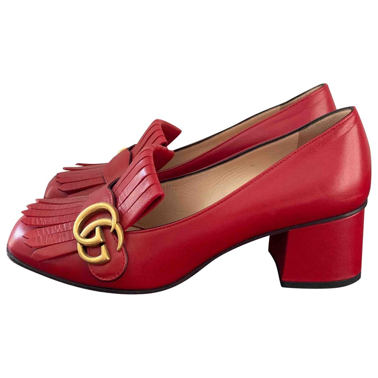 Gucci - Escarpins Marmont pour femme en cuir - rouge