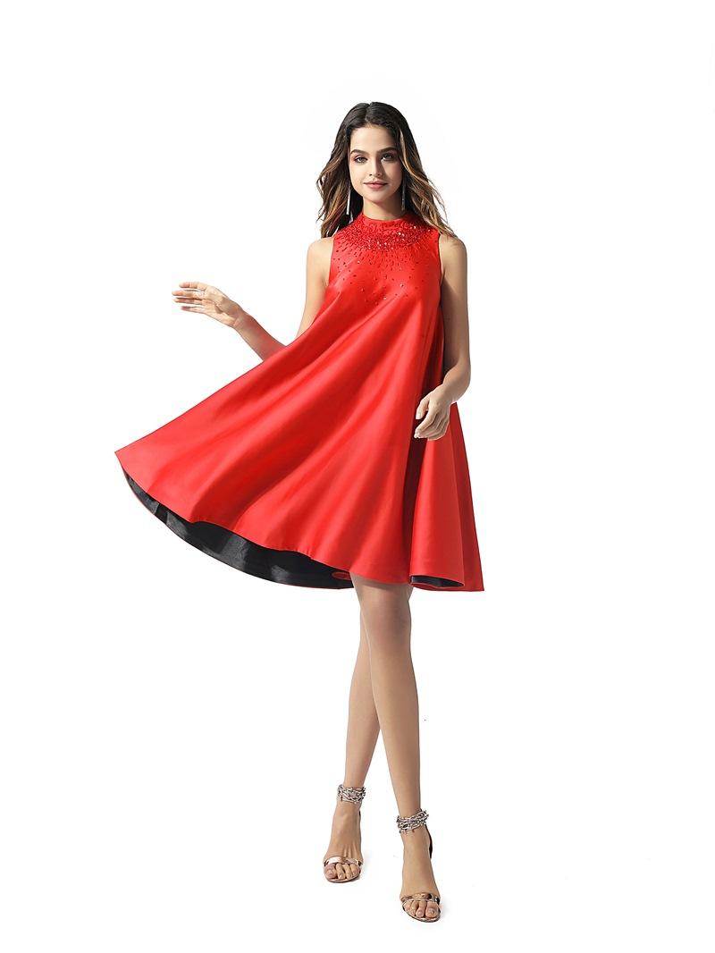 Ericdress High Neck Sleeveless Mini A-Line Cocktail Dress 2020