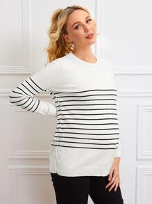 Maternity Buttoned Split Side Striped Sweater