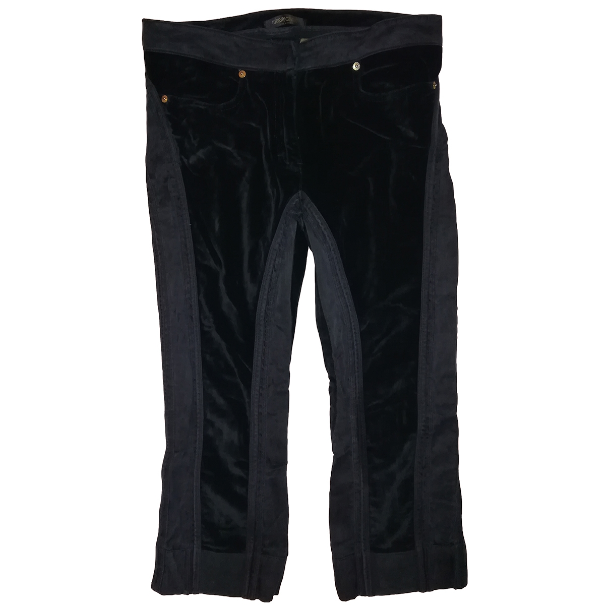 Roberto Cavalli \N Black Cotton Trousers for Women M International