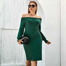 Vestidos de Punto de talla grande Liso Elegante
