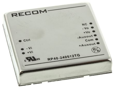Recom RP40 G 40W Isolated DC-DC Converter Through Hole, Voltage in 18 → 36 V dc, Voltage out 5 V dc, ±12 V dc
