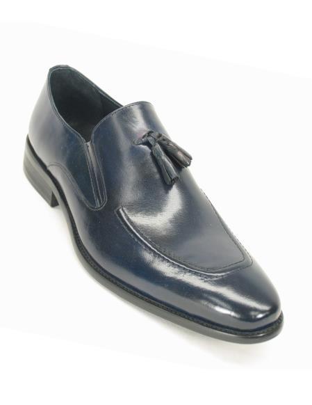 Carrucci Men's Leather Slip On Style Navy Tassel Loafer Shoe