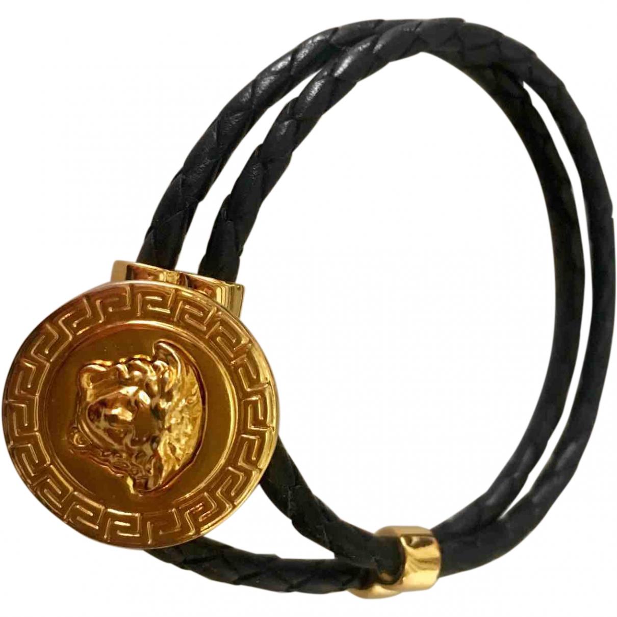 Versace - Bracelet   pour femme en cuir - noir