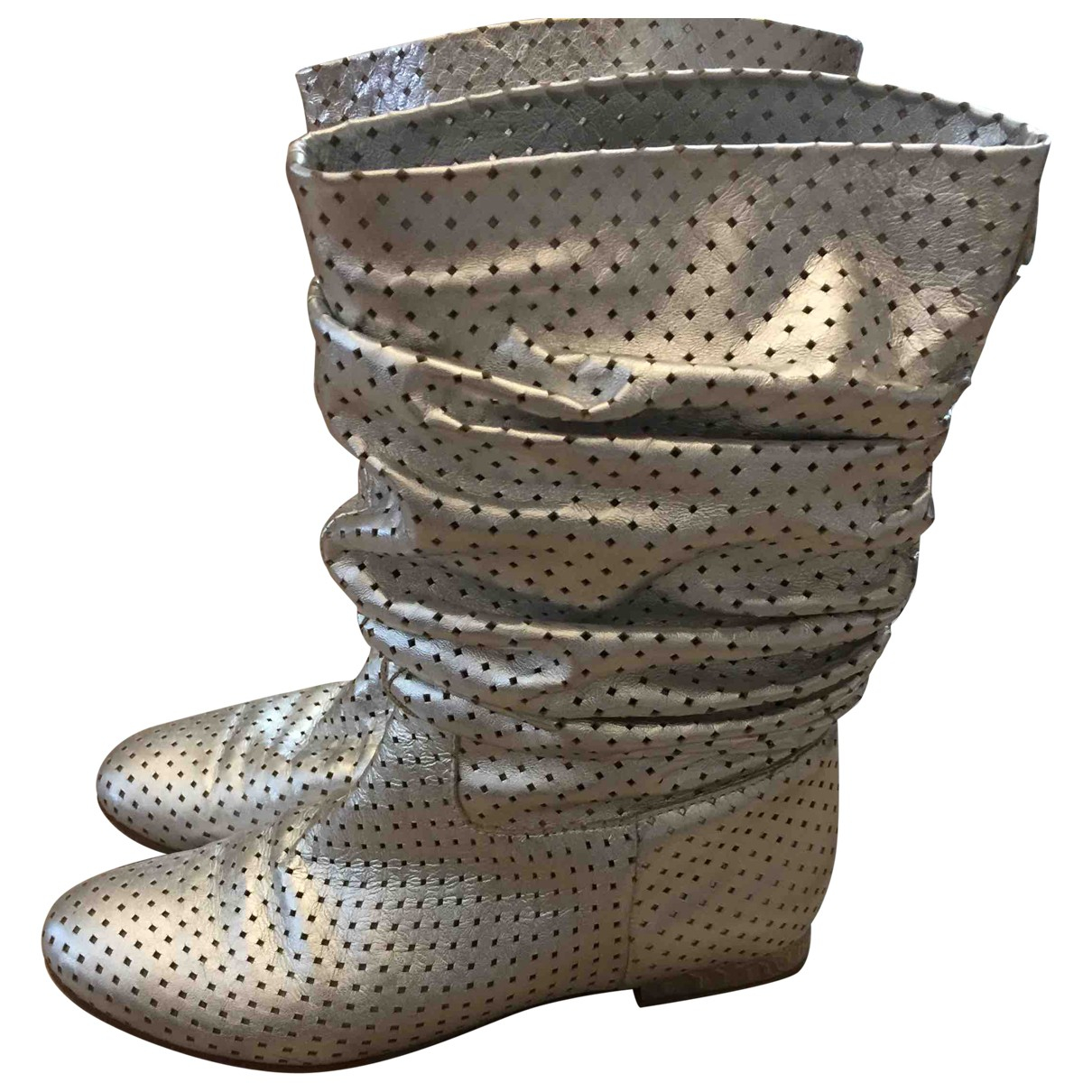 Baldinini N Silver Leather Boots for Women 38 IT