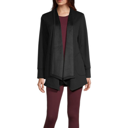 Stylus Cascade Womens Long Sleeve Open Front Cardigan, Small , Black