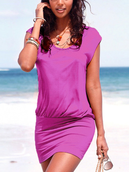 Yoins Purple Round Neck Short Sleeves Dress