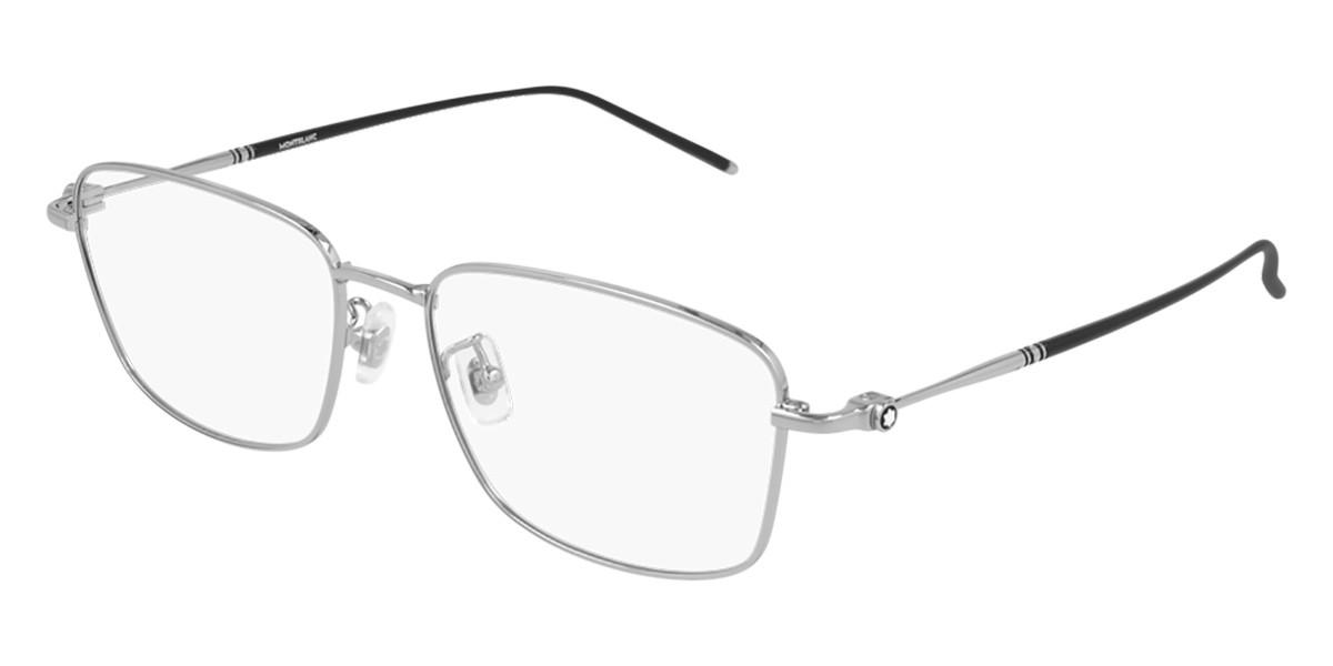 Mont Blanc MB0140OK Asian Fit 003 Men's Glasses Silver Size 56 - Free Lenses - HSA/FSA Insurance - Blue Light Block Available