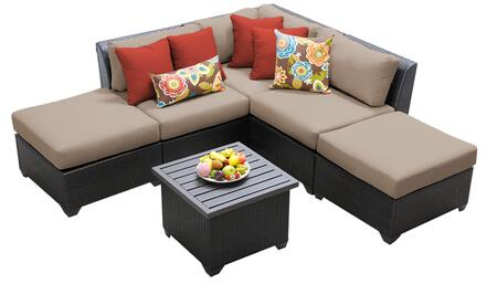 Barbados BARBADOS-06f 6-Piece Wicker Patio Set 06f with 1 Corner Chair  2 Armless Chairs  2 Ottomans and 1 End Table - 1 Wheat