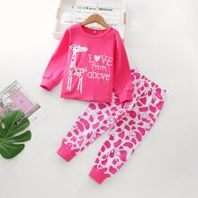 Toddler Girls Letter And Cartoon Graphic Tee & Sweatpants