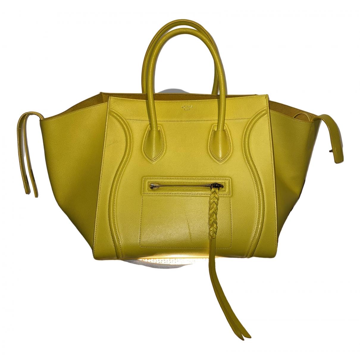 Celine Luggage Phantom Handtasche in  Gelb Leder
