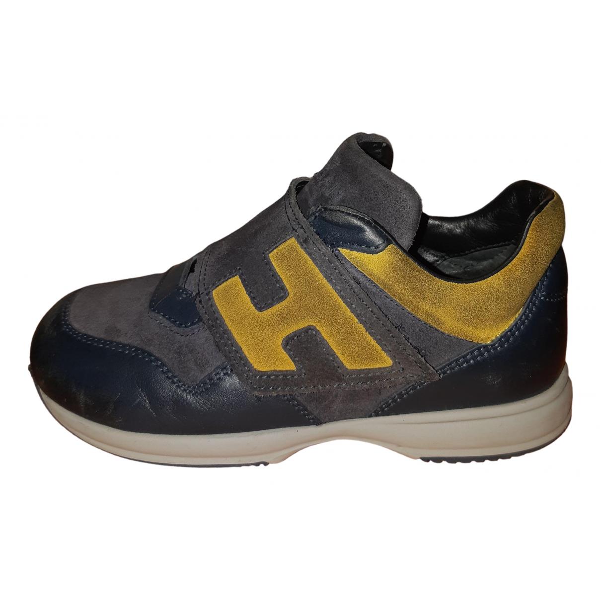Hogan - Baskets   pour enfant en cuir - bleu