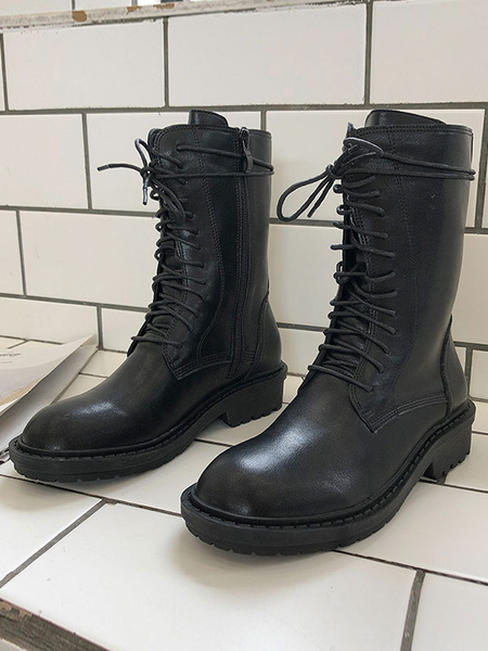 Milanoo Womens Martin Mid Calf Boots Black Round Toe Flat Winter Boots
