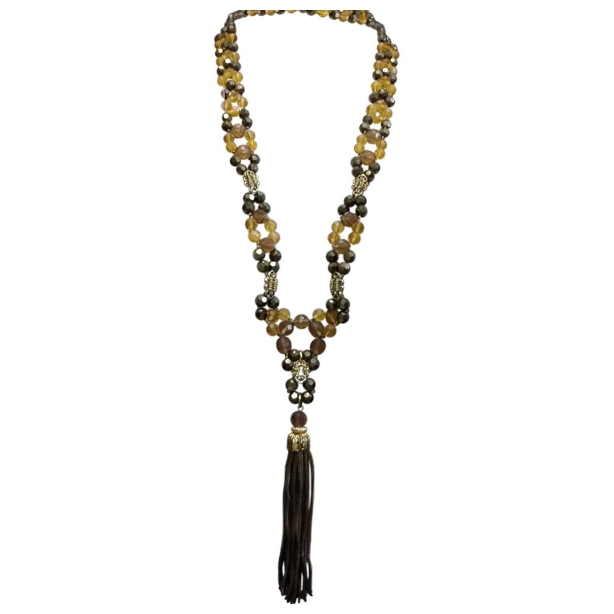 - Collier Motifs Floraux pour femme en verre - jaune