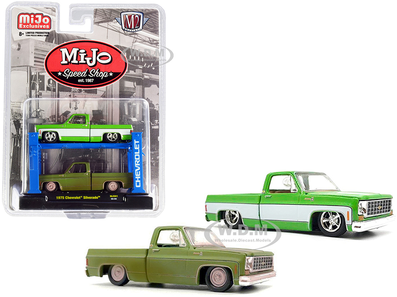 1975 Chevrolet Silverado Pickup Truck Bright Green with 1975 Chevrolet Silverado Pickup Truck Green (Dirty Version) Set of 2 pieces with Auto-Lift