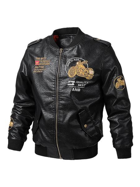 Milanoo Chaquetas de cuero vintage estilo militar para hombres Espesar chaqueta bomber