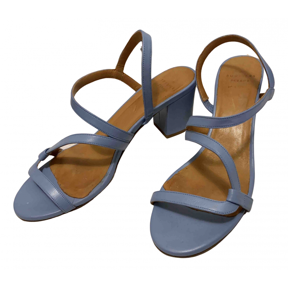 Sézane Spring Summer 2020 Blue Leather Sandals for Women 38 EU