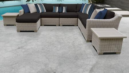 Coast Collection COAST-09c-BLACK 9-Piece Patio Set 09c with 1 Corner Chair   3 Armless Chair   1 Ottoman   2 End Table   1 Left Arm Chair   1 Right