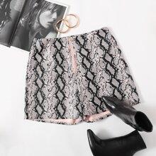 PU Leder Shorts mit Reissverschluss vorn und Schlangenleder Muster