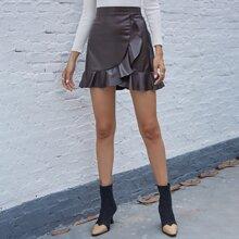 Zip Back Ruffle Hem PU Leather Skirt
