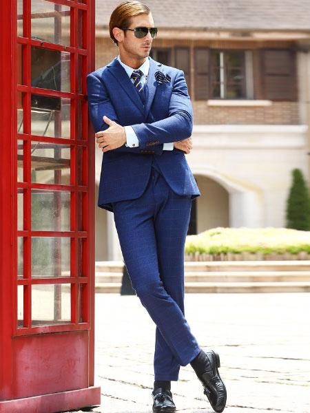 Milanoo Azul Plaid lana mezcla doble Breasted cuatro botones tres pieza traje