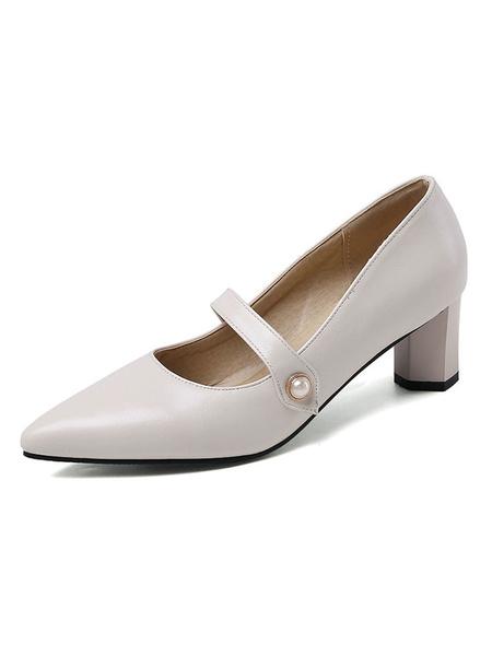 Milanoo Tacones con punta puntiaguda Zapatos de tacon de bloque negro para mujer Zapatos Mary Jane