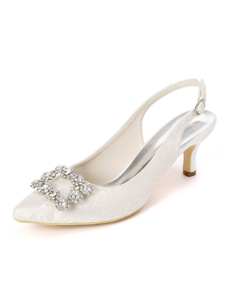 Milanoo Wedding Shoes White Lace Rhinestones Pointed Toe Stiletto Heel Bridal Shoes