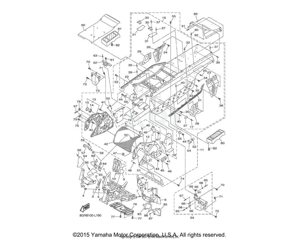 Yamaha OEM 8GJ-21936-00-00 REINFORCEMENT, FOOTREST 2